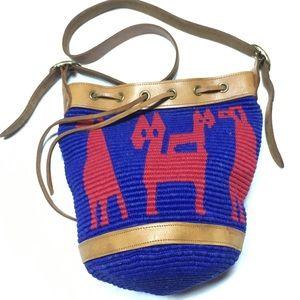Blue/Red basket weave bucket bag w/leather strap